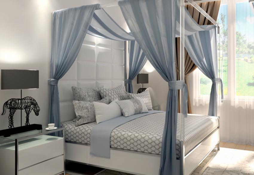 Кровать с кожаными пуфами и прозрачным балдахином East King State Street